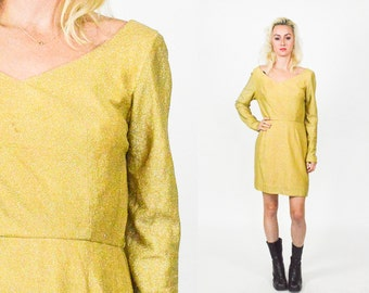 GOLD SPARKLY MINI Dress. Vintage 60's Mod High Waist Gold Shimmery Shift Short Dress. Long Sleeves. Metallic. Fitted Babydoll Size - S