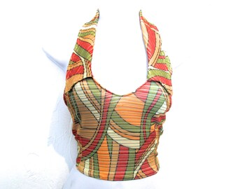 90's Striped Sheer Patterned Backless Crop Top  size - M/L