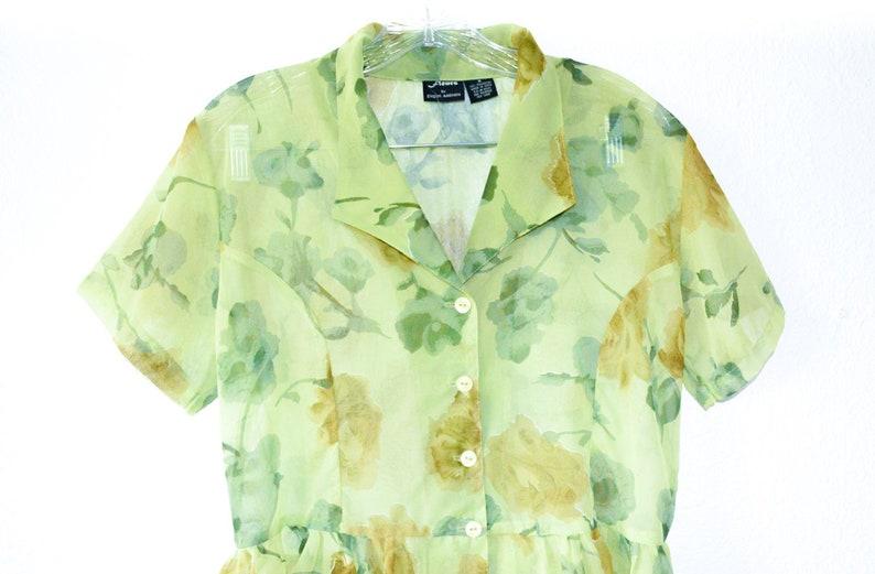 Floral Blouse Button Up Shirt 90s Boho  SHORT SLEEVE Top Floral  Sheer Short Sleeve 1990s Bohemian Vintage Retro Small Medium