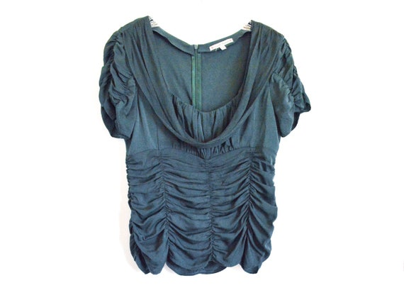 Y2K Top Green Silk Chiffon Blouse by Nanette Leopr