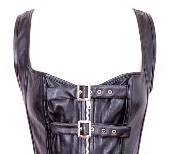 Y2K Black Bustier Faux Leather Y2K Corset Vintage… - image 4