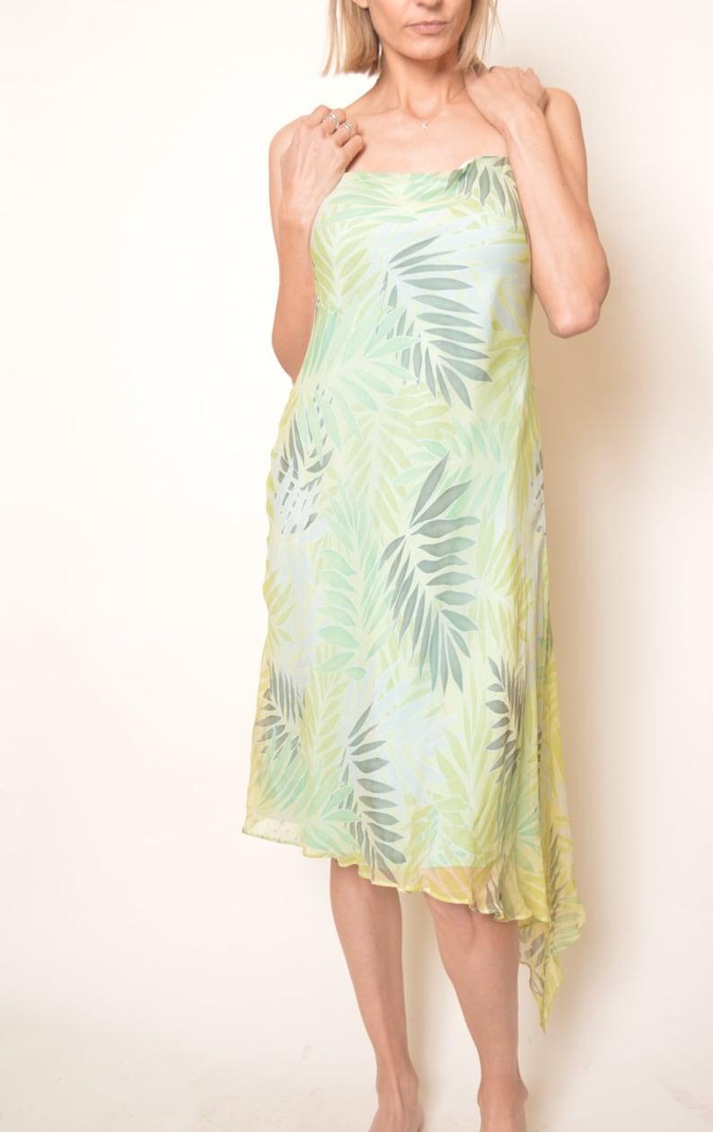 Green  Silk Midi Y2K Floral Grunge Dress Y2k Asymmetric Floral Boho Bohemian Shift Sun Sheath Vintage Spaghetti Strap   Retro Small Medium