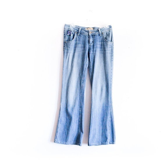 Flared Y2K  Jeans Hand Painted Floral Y2K Flare Pa