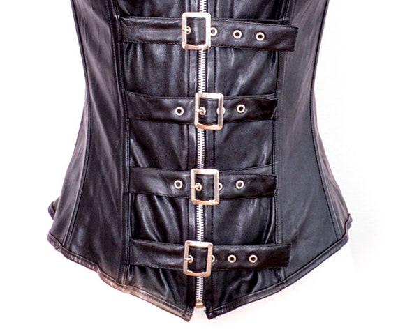 Y2K Black Bustier Faux Leather Y2K Corset Vintage… - image 6
