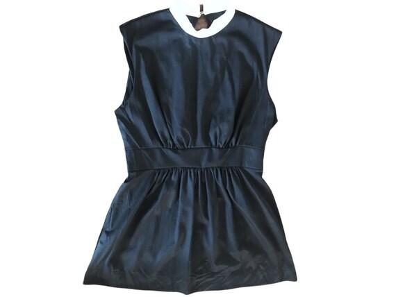 70's Slip Mini  Dress Micro Mini  70's Black Whit… - image 2