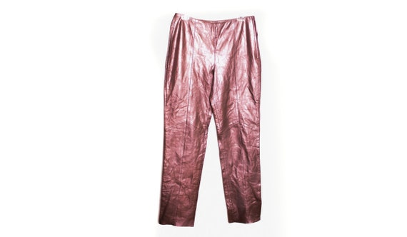Metallic Leather Jeans  Y2K Vintage High Waist 90'