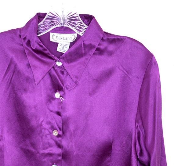 minimal blouse royal blue silk collared shirt minimalist oversized deep purple silk button down shirt 90s purple silk blouse xl large