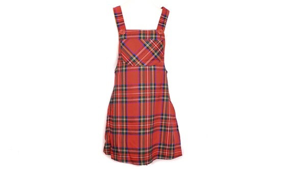 90's Plaid  Mini Dress RED 90s Party Overall Dress