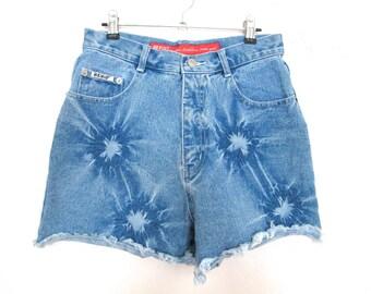 90's Tie Dye Denim Shorts size - M/L
