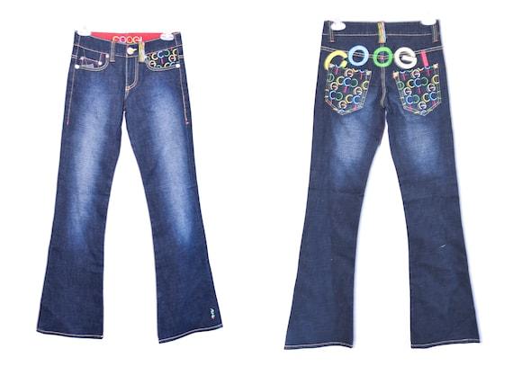 COOGI Flared Y2K Blue Jeans  Denim Y2K Flare Pants