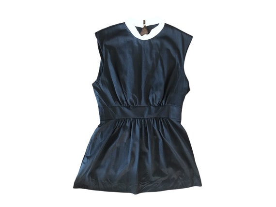70's Slip Mini  Dress Micro Mini  70's Black Whit… - image 3