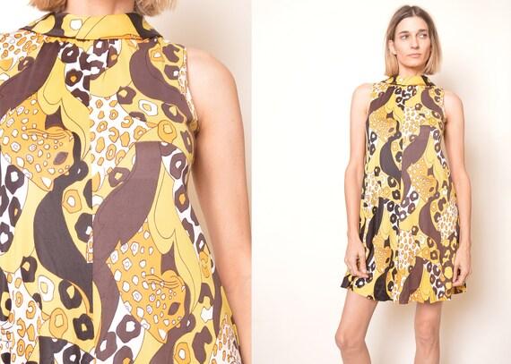 70s Babydoll Dress Leopard PRINT Animal Dress Mini