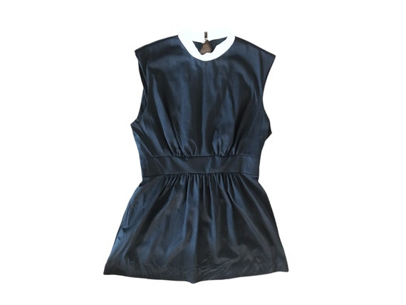 70's Slip Mini  Dress Micro Mini  70's Black Whit… - image 1