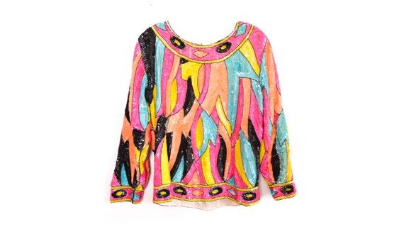 80's Rainbow Sequin Blouse Top 80s Disco Shirt Shi