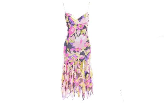 Pink Floral Dress Midi Y2K Betsey Johnson  Floral