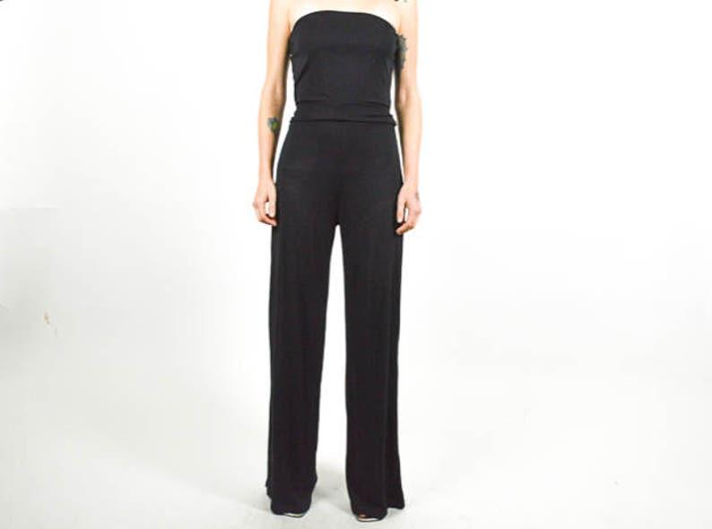 10019a15b21 Traje pantalón grapadora traje pantalón un pedazo de negro. | Etsy