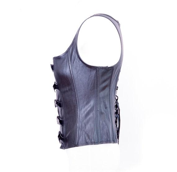 Y2K Black Bustier Faux Leather Y2K Corset Vintage… - image 8