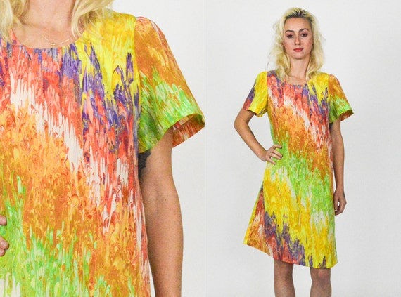 70's MARBLE TIE DYE Mod Mini Dress . A Line Mini D