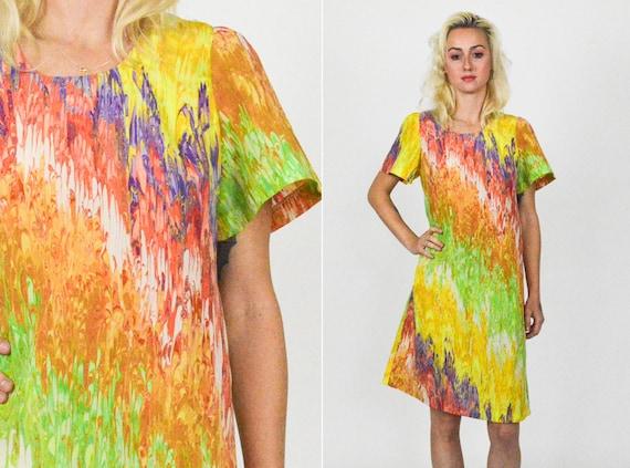 70's MARBLE TIE DYE Mod Mini Dress . A Line Mini D