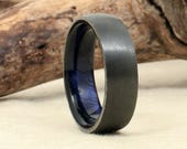 Wood Ring Lined with Black Zirconium Exhibition Curly Koa - Blue