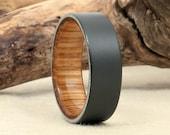 Scotch Barrel Wood Ring - Sandblasted Black Zirconium