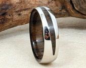 Ancient Bog Oak and Cobalt Wood Crosscut Ring