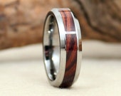 Wooden Ring - Tungsten Carbide Ring with Kingwood Rosewood
