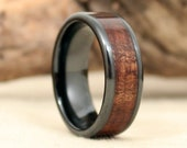 Black Ceramic Matte Ring with Exhibition Grade Hawaiian Koa