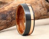 Rose Gold Stripe Black Zirconium - Wood Ring Lined with Whiskey Barrel White Oak Wooden Ring