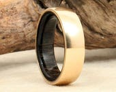 Gold and Ancient Bog Oak Wooden Ring