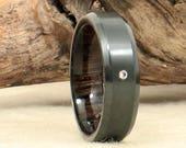 Diamond Inlay Black Zirconium Wood Ring Lined with Ancient Russian Bog Oak