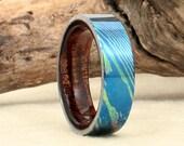 Damascus Titanium Mokume-Ti Hawaiian Koa Ring