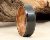 Beveled Black Zirconium Wood Ring Lined with Whiskey Barrel White Oak Wooden Ring