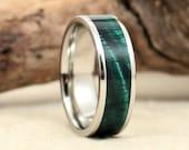 Hawaiian Koa Ring - Green - Lined With Cobalt Ring