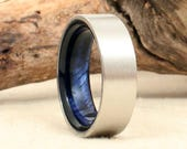 Wooden Ring Lined with Exhibition Grade Koa - Cobalt - Blue