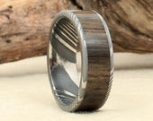 Damascus Steel and Wood Ring - Ancient Bog Oak Wooden Ring