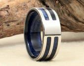 Wood Ring Blue Stabilized Koa and Cobalt