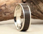 Ancient Russian Bog Oak and White Gold Ring