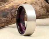 Wood Ring Lined with Exhibition Grade Koa - Cobalt - Purple
