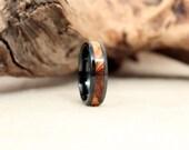 Black Ceramic Ring with Bethlehem Olivewood