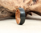 Black Zirconium Wood Ring Lined with Exhibition Black Ash Burl