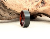 Black Zirconium Wooden Ring Lined with Arizona Desert Ironwood Burl