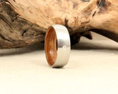 Diamond Inlay Cobalt Wooden Ring Lined with Whiskey Barrel White Oak Barrel