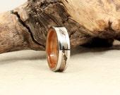 Cobalt Mokume-gane Whiskey Barrel Oak Wooden Ring