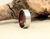 Hammered Cobalt Wooden Ring Lined with Arizona Desert Ironwood Wooden Ring