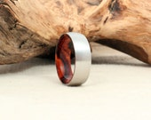 Wooden Ring Lined with Arizona Desert Ironwood Burl and Cobalt