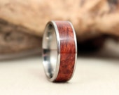 Amboyna Burl Wooden Ring Lined With Titanium