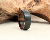 Black Zirconium Wood Ring Lined with Pheasantwood