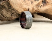 Damascus Steel and Wood Ring -Kingwood Rosewood Wooden Ring Damascus Steel Ring
