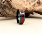 Black Ceramic Ring with Cocobolo Rosewood Wooden Inlay RIng